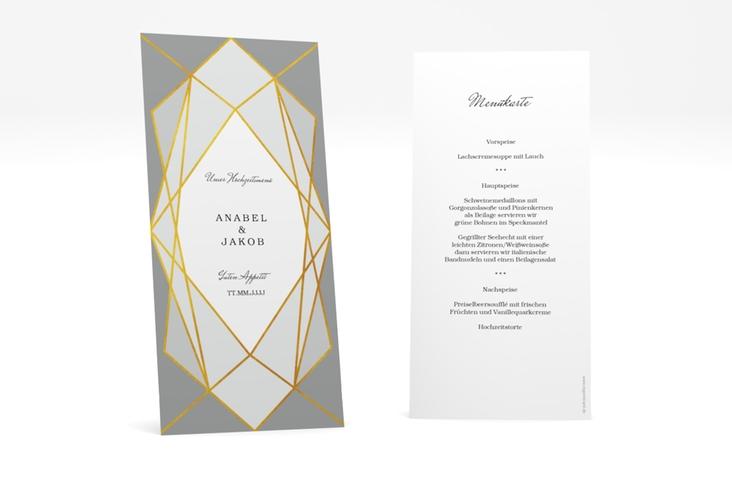 """Menükarte Hochzeit """"Geometric"""" DIN lang hoch"""