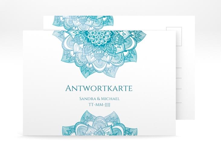 """Antwortkarte Hochzeit """"Delight"""" A6 Postkarte tuerkis"""