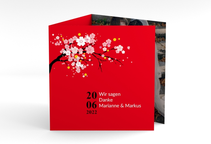 "Dankeskarte Hochzeit ""Sakura"" Quadr. Karte doppelt rot"