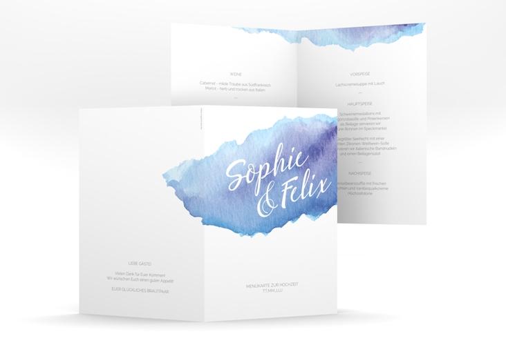 "Menükarte Hochzeit ""Aquarella"" DIN A5 geklappt blau"