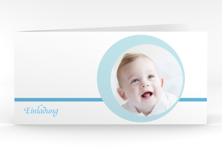 "Einladungskarte Taufe ""Bubble"" DIN lang Klappkarte"