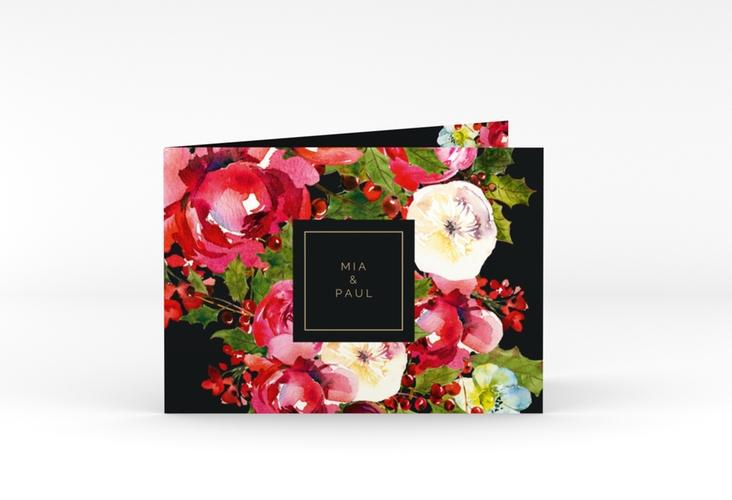 """Danksagungskarte Hochzeit """"Blumenpracht"""" A6 Klappkarte Quer schwarz"""
