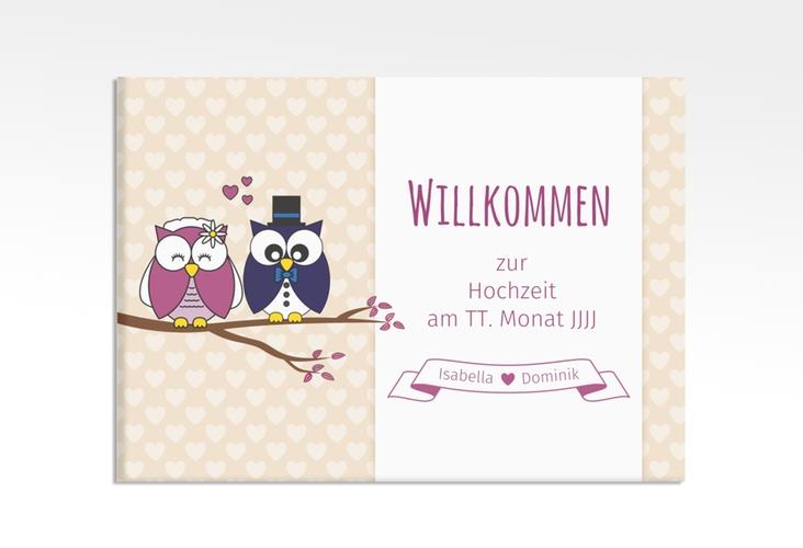 """Willkommensschild Hochzeit """"Eulenliebe"""" 70 x 50 cm Leinwand beige"""
