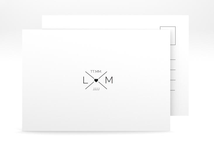 """Verlobungskarte Hochzeit """"Initials"""" A6 Postkarte schwarz"""
