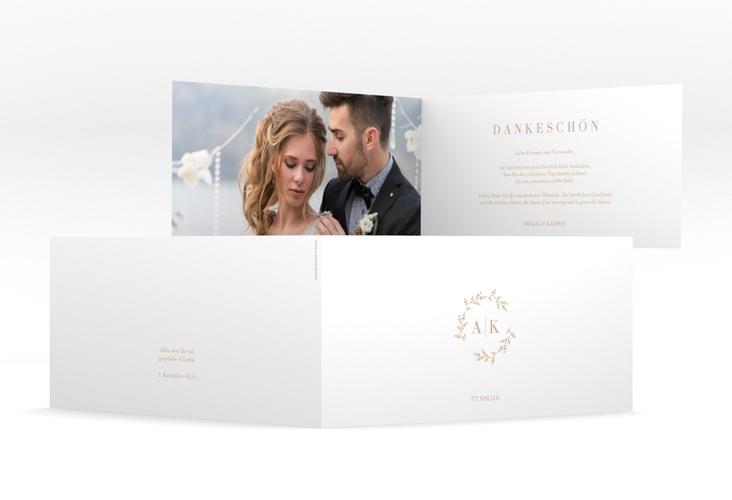 """Dankeskarte Hochzeit """"Filigrana"""" DIN lang Klappkarte beige"""