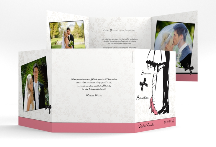"Dankeskarte Hochzeit ""Straßburg"" Quadr. Karte doppelt rosa"