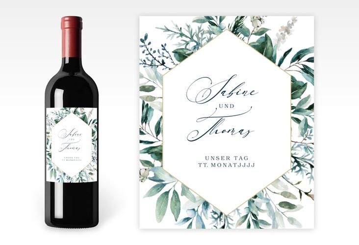 """Weinflaschenetikett Hochzeit """"Lumiere"""" Etikett Weinflasche 4er Set weiss"""