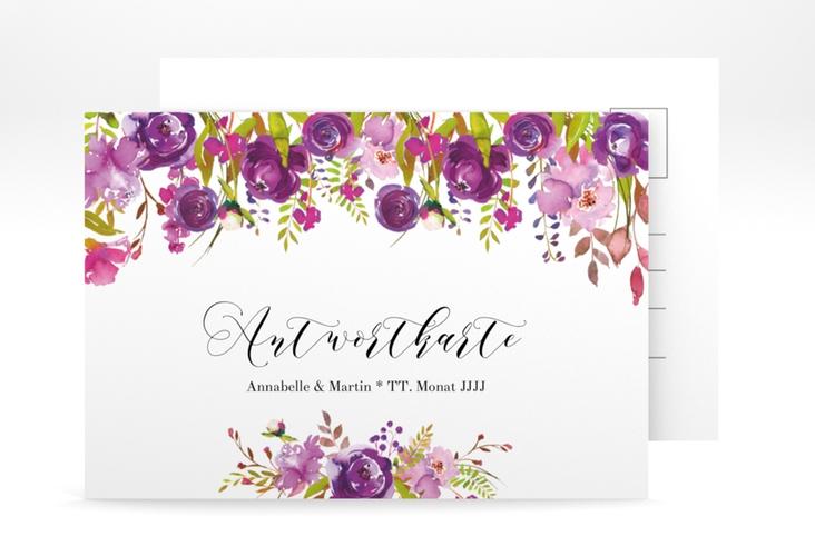 """Antwortkarte Hochzeit """"Violett"""" A6 Postkarte weiss"""