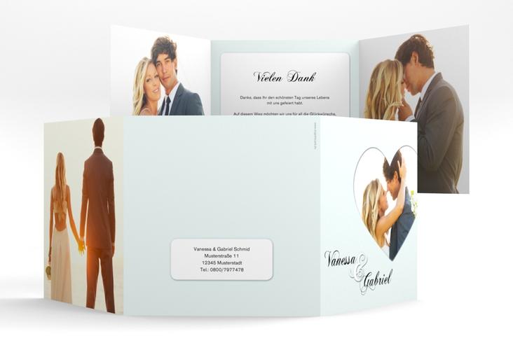 """Dankeskarte Hochzeit """"Sweetheart"""" Quadr. Karte doppelt tuerkis"""