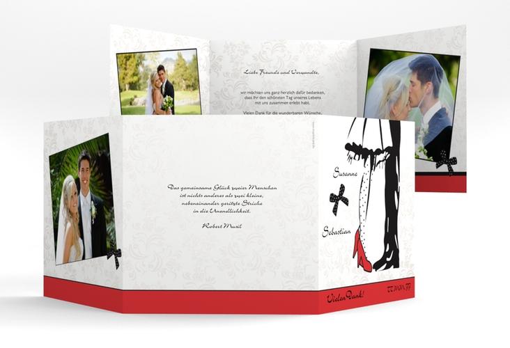 "Dankeskarte Hochzeit ""Straßburg"" Quadr. Karte doppelt rot"