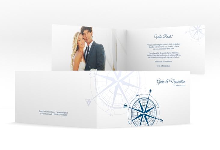 "Danksagung Hochzeit  ""Windrose"" DIN lang Klappkarte blau"