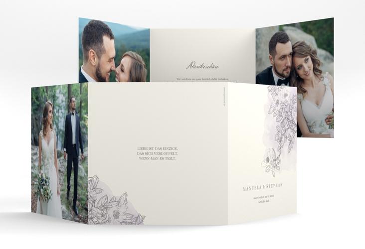 "Dankeskarte Hochzeit ""Artlover"" Quadr. Karte doppelt flieder"