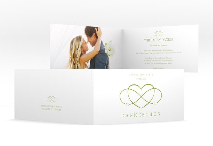 """Dankeskarte Hochzeit """"Infinity"""" DIN lang Klappkarte gruen"""