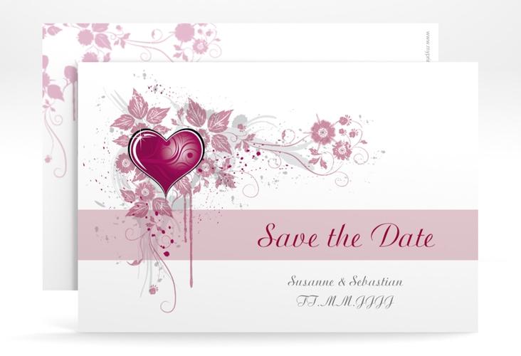 "Save the Date-Karte Hochzeit ""Triest"" A6 quer pink"