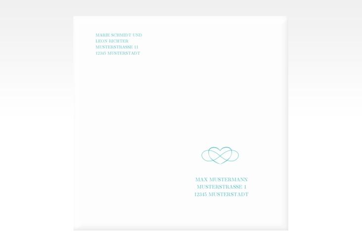 """Kuvert quadratisch """"Infinity"""" Quadratisch tuerkis"""