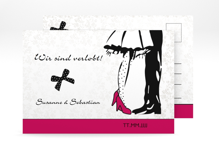 "Verlobungskarte Hochzeit ""Straßburg"" A6 Postkarte pink"