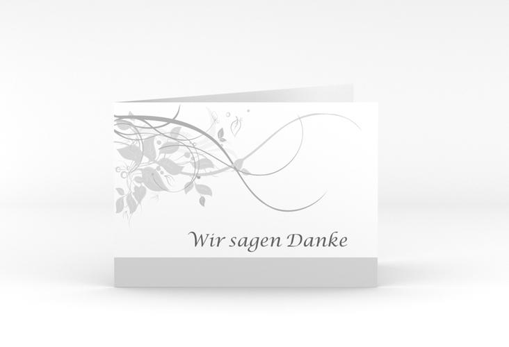 """Danksagungskarte Hochzeit """"Florenz"""" A6 Klappkarte Quer grau"""