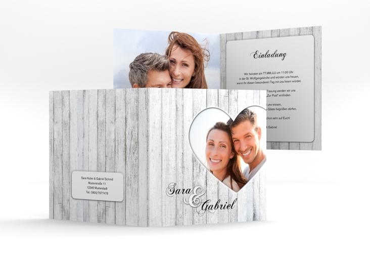 """Hochzeitseinladung """"Herz"""" Quadratische Klappkarte"""