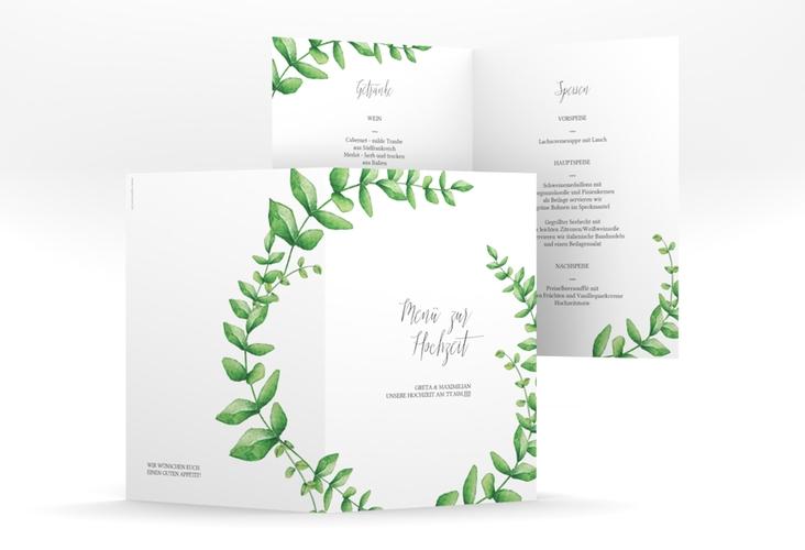 """Menükarte Hochzeit """"Botanic"""" DIN A5 geklappt"""