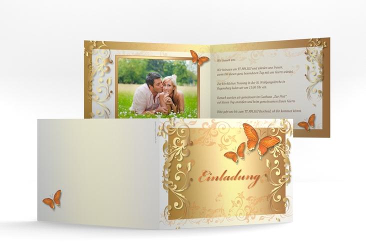 """Hochzeitseinladung """"Toulouse"""" A6 Klappkarte Quer orange"""