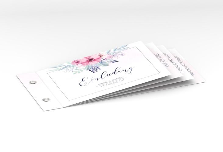 """Hochzeitseinladung """"Surfinia"""" Booklet rosa"""