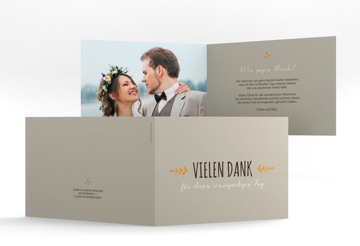 """Danksagungskarte Hochzeit """"Eden"""" A6 Klappkarte Quer orange"""