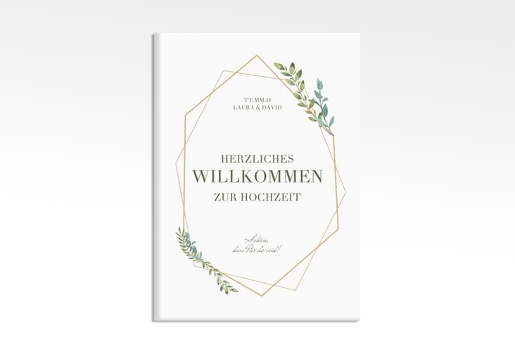 """Willkommensschild Leinwand """"Herbarium"""" 50 x 70 cm Leinwand gold"""