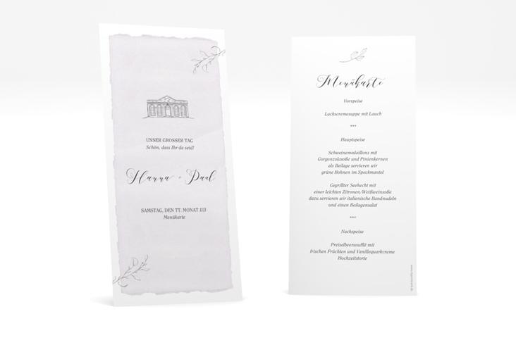 """Menükarte Hochzeit """"Villa"""" DIN lang hoch flieder"""