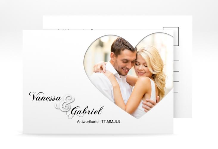 "Antwortkarte Hochzeit ""Sweetheart"" A6 Postkarte weiss"