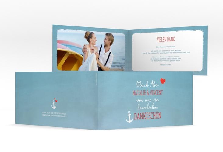 """Danksagungskarte Hochzeit """"Ehehafen"""" DIN lang Klappkarte blau"""