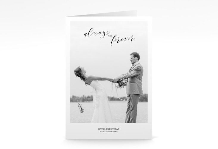 """Menükarte Hochzeit """"Photoframe"""" DIN A5 geklappt"""