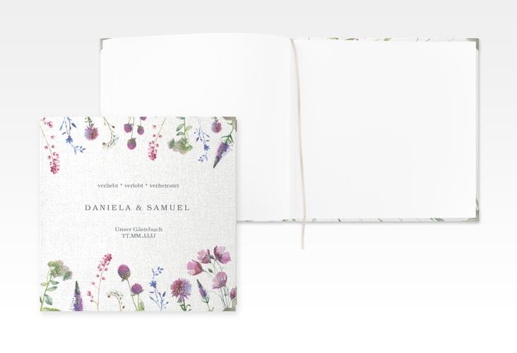 """Gästebuch Selection Hochzeit """"Wildblumen"""" Leinen-Hardcover weiss"""