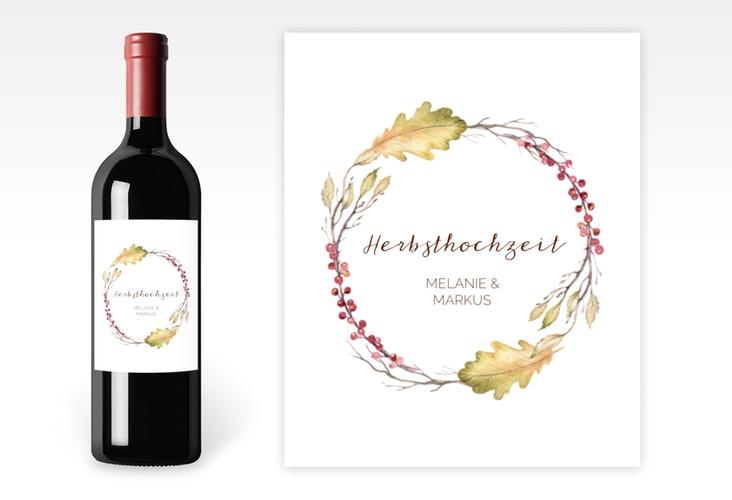 """Weinetikett zur Hochzeit """"Herbsthochzeit"""" Etikett Weinflasche 4er Set"""