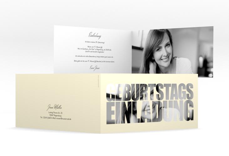 """Einladungskarte """"Jahreszahl"""" DIN lang Klappkarte beige"""
