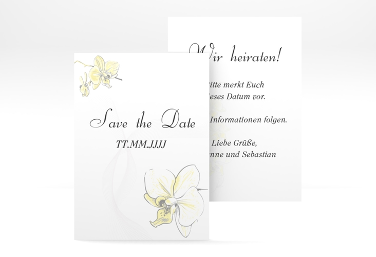 "Save the Date-Visitenkarte ""Modena"" Visitenkarte gelb"