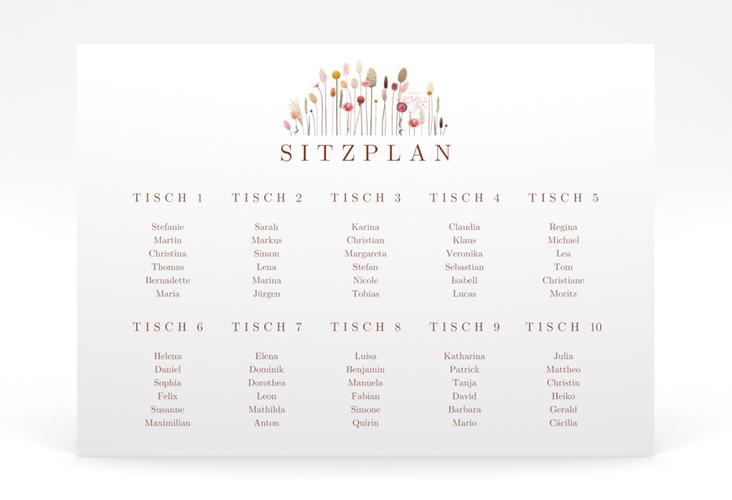 """Sitzplan Poster Hochzeit """"Driedflower"""" 70 x 50 cm Poster"""