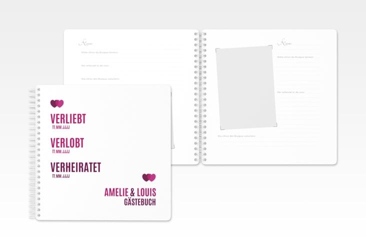 """Gästebuch Hochzeit """"Couple"""" Ringbindung pink"""