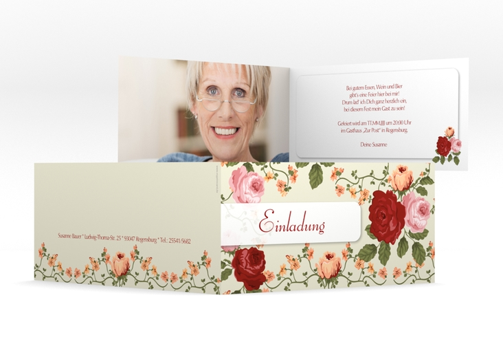 """Einladungskarte """"Rosemarie"""" DIN lang Klappkarte"""