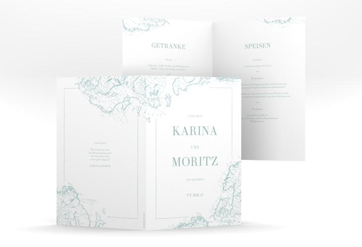 """Menükarte Hochzeit """"Voyage"""" DIN A5 geklappt mint"""