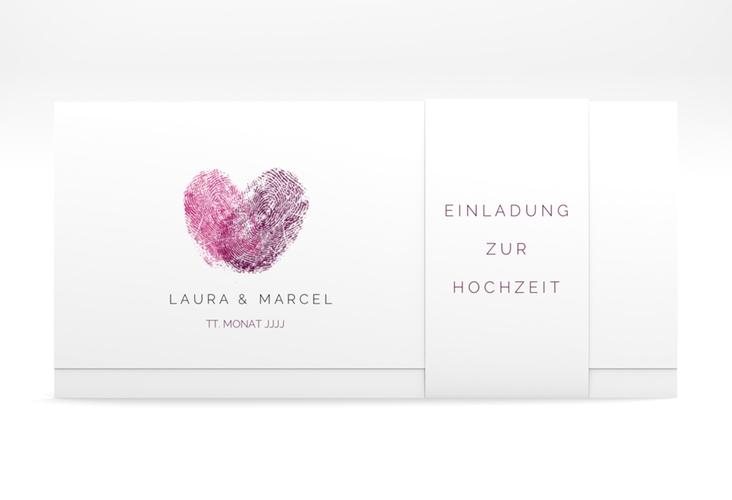 """Hochzeitseinladung """"Fingerprint"""" DIN lang Wickelfalz"""