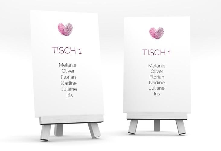 """Tischaufsteller Hochzeit """"Fingerprint"""" Tischaufsteller pink"""