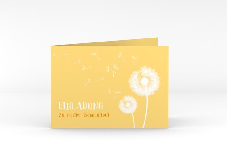 """Einladungskarte Kommunion """"Dandelion"""" A6 Klappkarte Quer gelb"""