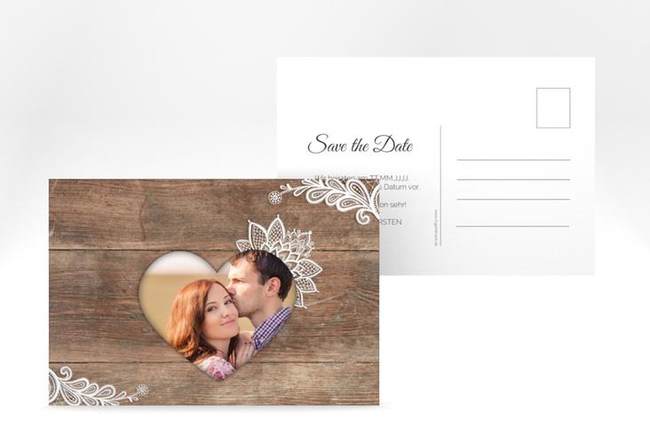 "Save the Date-Postkarte ""Spitze"" A6 Postkarte braun"