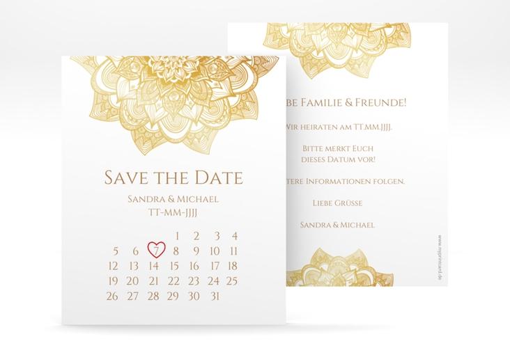 "Save the Date-Kalenderblatt ""Delight"" Kalenderblatt-Karte gold"