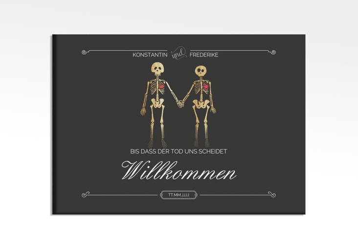 """Willkommensschild Hochzeit """"Bones"""" 70 x 50 cm Leinwand"""