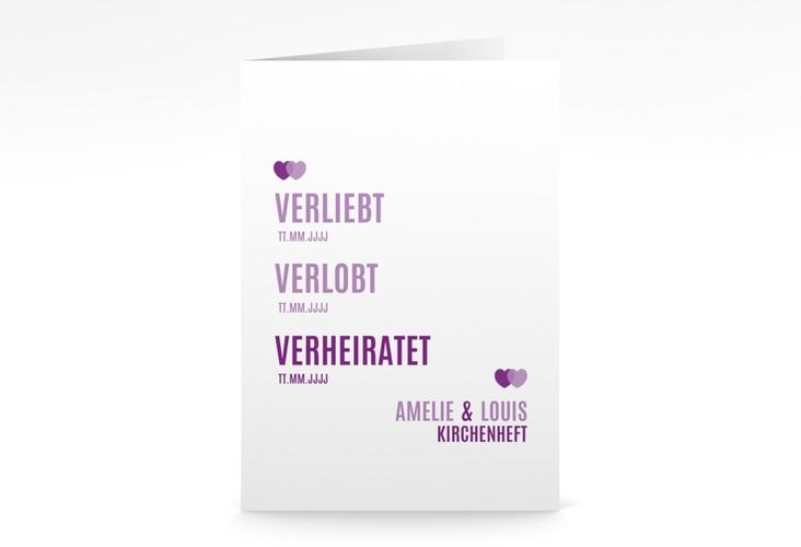 """Kirchenheft Hochzeit """"Couple"""" DIN A5 geklappt lila"""
