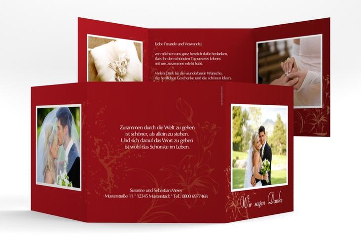 """Dankeskarte Hochzeit """"Lille"""" Quadr. Karte doppelt rot"""
