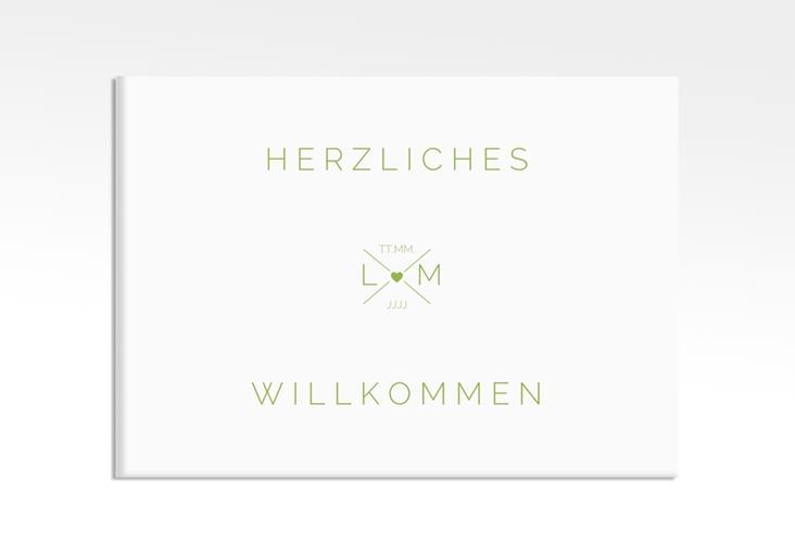 """Willkommensschild Hochzeit """"Initials"""" 70 x 50 cm Leinwand gruen"""