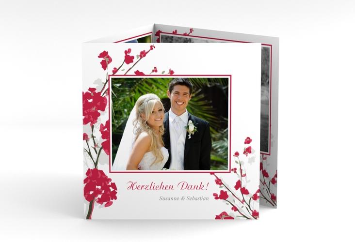 """Danksagungskarte Hochzeit """"Salerno"""" Quadr. Karte doppelt rot"""