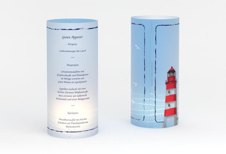 """Windlicht Menü Hochzeit """"Sylt"""" Windlicht blau"""